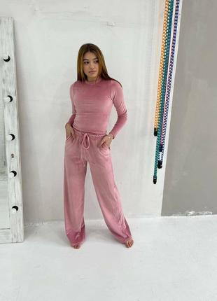 Велюровый костюм в рубчик, розовый