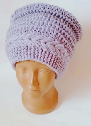 Шапка кубанка вязанные шапки спицами ручной работы. женская шапка. берет жіночий.