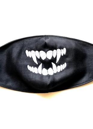 Маска для лица хлопковая с вышивкой. зубы.