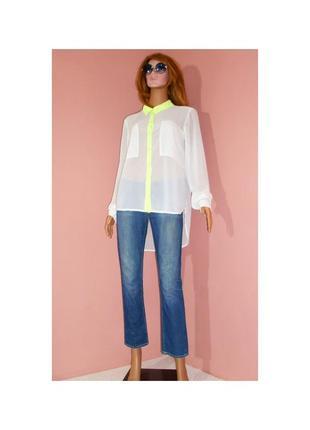 Белая блуза only с салатовыми вставками
