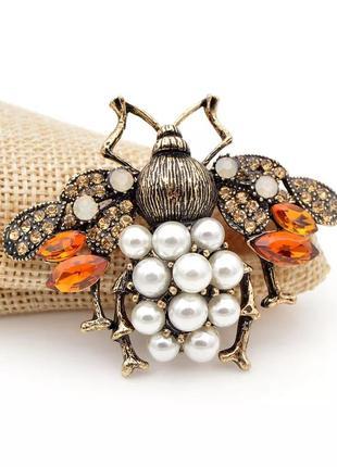 Качественная брошь пчела бусины камни брошка как винтажная жук пин