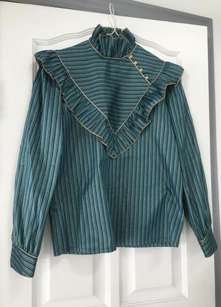 Блузка рубашка нарядная. цвет аквамарин прошита золотыми нитями