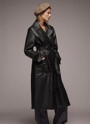 Тренч,пальто,плащ, блейзер из искусственной кожи zara,м/л