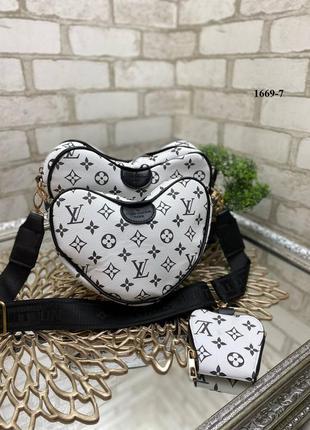 Новая сумка сердечко 3в1 на широком ремешке