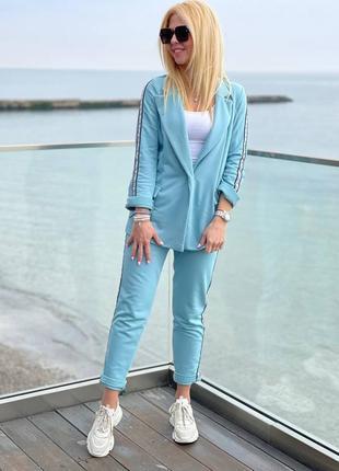 Стильный брючный трикотажный костюм женский трехнитка с пиджаком