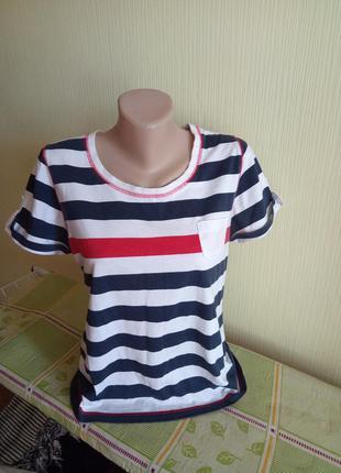 Яркая футболка  в бело-синюю полоску john baner, яхтенный стиль