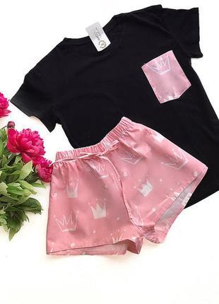 Хлопковая пижама с принтом корона, футболка с карманом и шорты