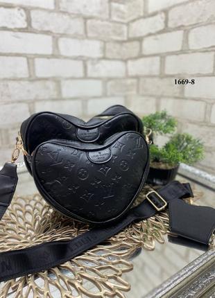 Новая крутая кожаная сумка сердце на широком ремешке