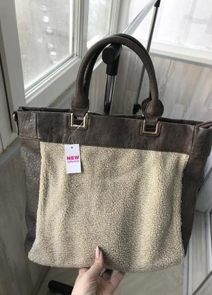 Стильная, женская, вместительная, большая сумка с мехом