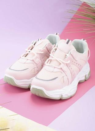 Женские розовые кроссовки со светло-бирюзовой подошвой