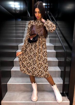 Трендовые платья миди в цветочный принт со съёмным кожаным топом-бюстье 🔝