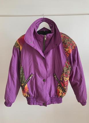 Яркая сиреневая винтажная куртка бомбер прямиком из 80-х