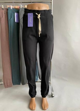 Велюровые спортивные штаны, штаны на манжетах, джоггеры, штаны с манжетом р-р 46-52