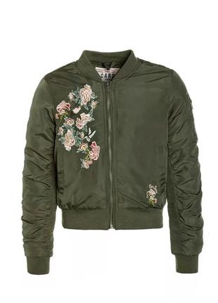 Роскошная куртка бомбер пилот bomber с вышивкой