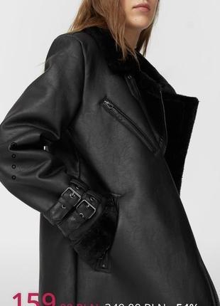 Дубленка авиатор, дубленка куртка с мехом байкерская под кожу stradivarius