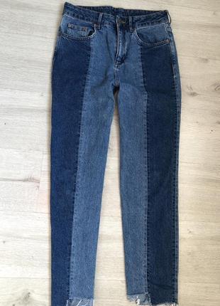 Стильні двокольореі джинси мом