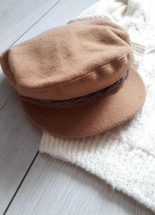 Коричневая шерстяная кеппи/фуражка