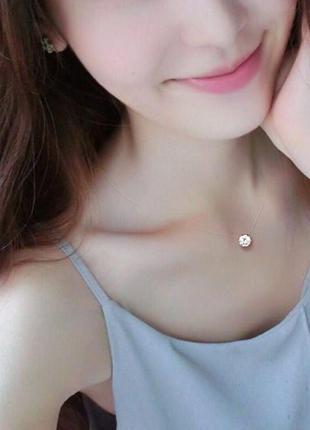 Камушек на леске цирконий 6 мм ( покрытие серебром ) невидимое ожерелье