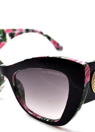 Солнцезащитные очки dg цветы чёрные , кошачий глаз