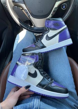 Nike air jordan retro 1🆕шикарные женские кроссовки🆕кожаные фиолетовые высокие найки🆕жіночі