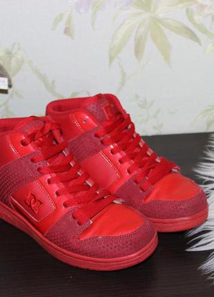 37 23,5 см кожаные кроссовки dc хайтопы ботинки