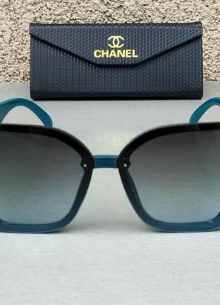 Chanel модные женские солнцезащитные очки большие с градиентом черно бирюзовые