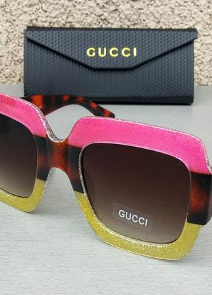 Gucci очки женские солнцезащитные большие яркие стильные