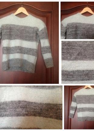 Натуральный фирменный мятный бирюзово-серый свитер reiss