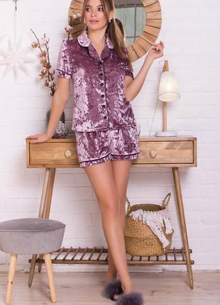 Костюм нурия лиловый велюровый костюм с шортами