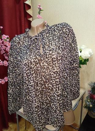 Нарядная блуза леопардовый принт   papaya
