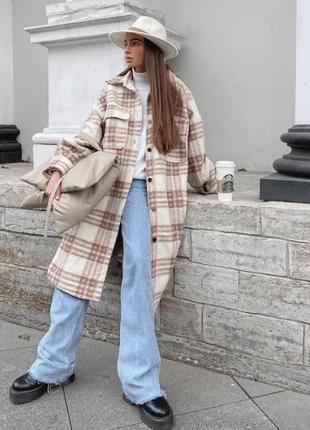 Пальто-рубашка h&m в клетку бежево-молочное