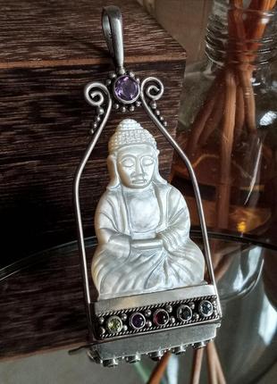 Кулон будда подвеска из серебра с перламутром и натуральными камнями