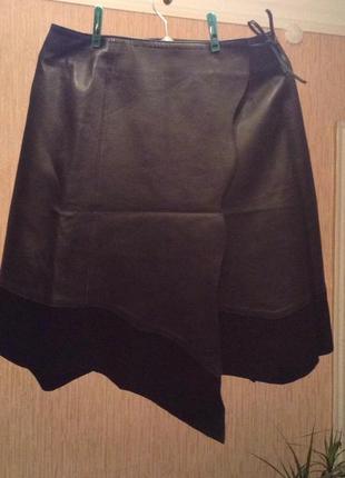Натуральная кожаная юбка с замшевым декором на поясе лепучка и шнуровка, р.10-12