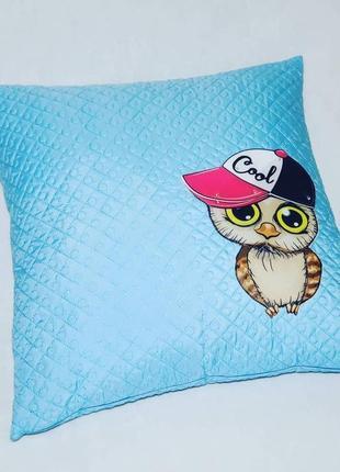 Детская декоративная подушка совёнок голубая