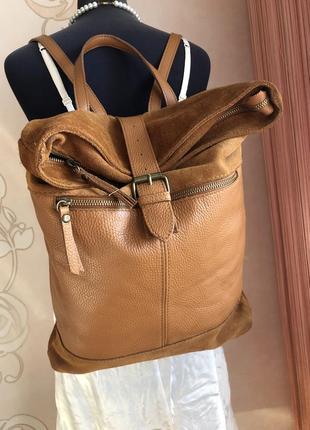 Вместительный кожаный рыжий рюкзак, натуральная кожа, замша,
