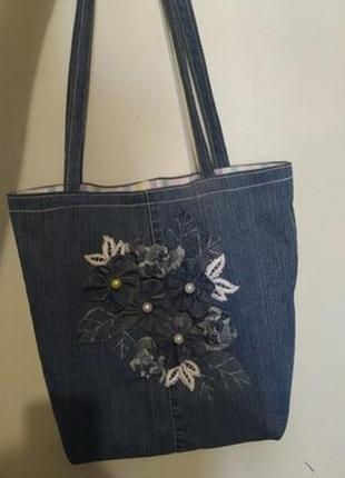 Джинсовая ,стильная сумка,большая,еко сумка