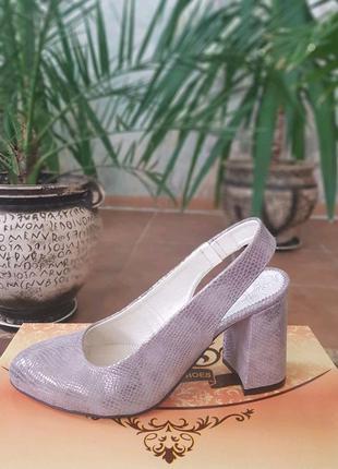 Туфли с открытой пяткой из натуральной кожи