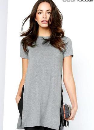 Удлиненная футболка с разрезами (платье)m-l (zara,mango)
