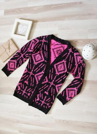 Стильный свитер кардиган с принтом  в стиле бохо этно