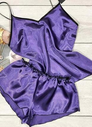 Лавандовая однотонная атласная пижама майка + шорты.