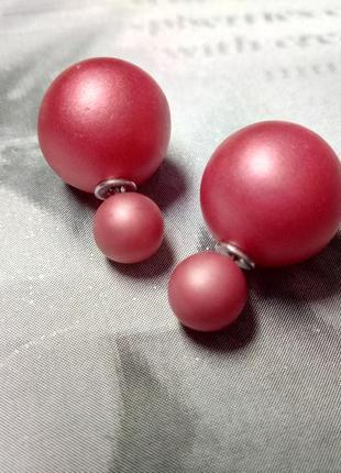 Распродажа! красные матовые серьги гвоздики пусеты сережки шарики, бижутерия шар
