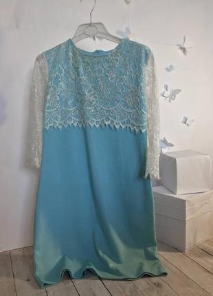 Платье трапеция с кружевом свободное