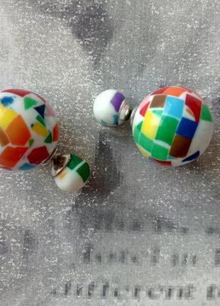 Распродажа! серьги гвоздики пусеты яркие сережки шарики, бижутерия
