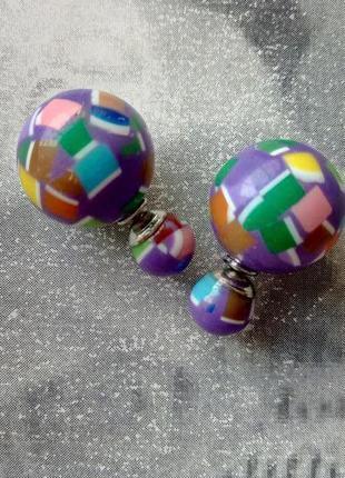Распродажа! серьги гвоздики пусеты сережки цветные шарики, бижутерия
