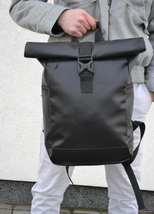 Кожаный рюкзак унисекс с экокожи роллтоп ролтоп rolltop для путешествий