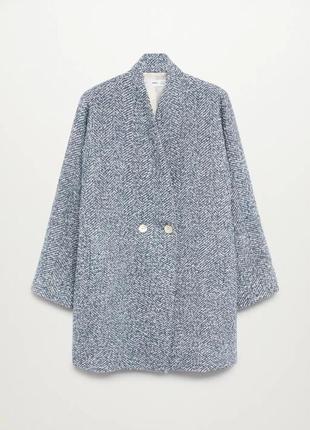 Двубортное пальто с фактурной выделкой mango2 фото