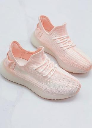 Текстильные светло-розовые кроссовки-изики