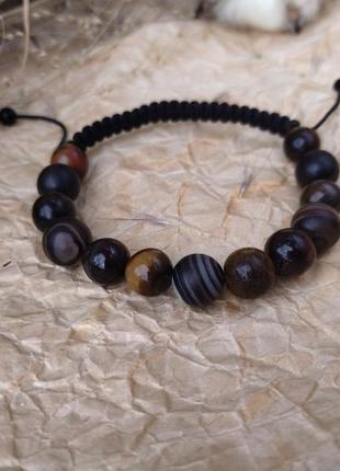 Защитный чёрный браслет талисман из натуральных камней