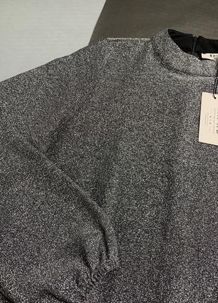 Срібне плаття вільного крою з люрексом na-kd5 фото