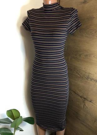 💫женское обтягиваю/облегающее платье футляр миди atmosphere полосатое